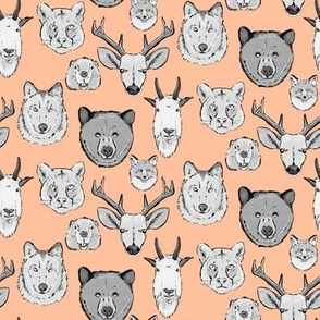Western Animal Faces on Millennial Pink