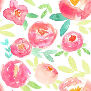 Romantic Sweet Rose Red Garden Watercolor Floral