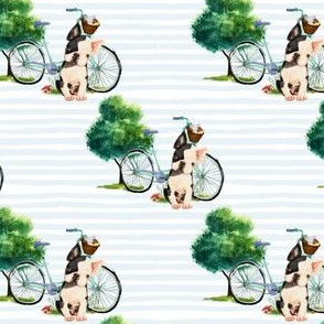 "4"" Dog With Bike - Blue Stripes"