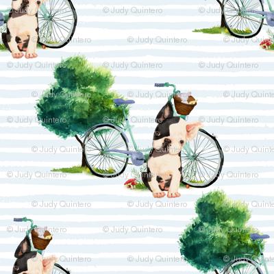 "8"" Dog With Bike - Blue Stripes"