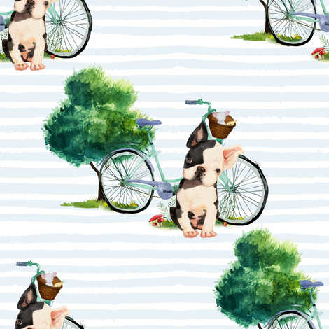 "8"" Dog With Bike - Blue Stripes fabric by shopcabin on Spoonflower - custom fabric"
