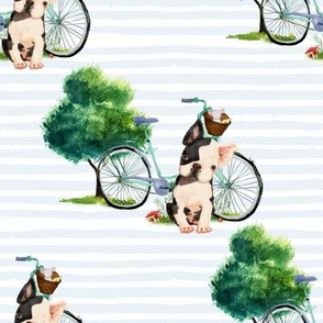 "8"" Dog With Bike - Blue Stripes"