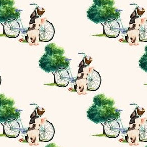 "4"" Dog With Bike - Ivory"