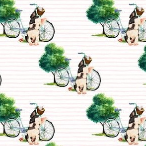 "4"" Dog With Bike - Pink Stripes"