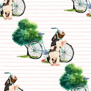 "8"" Dog With Bike - Pink Stripes"