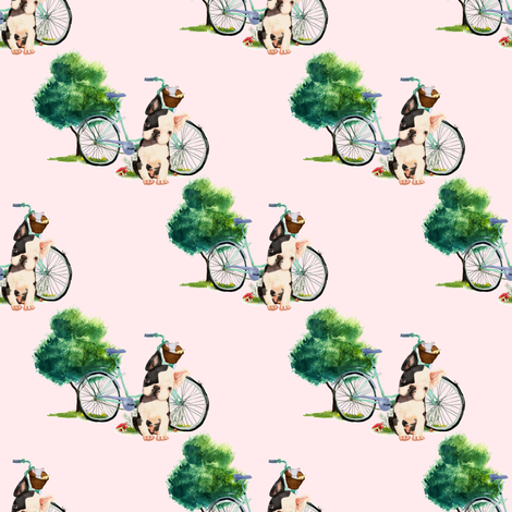 "4"" Dog With Bike - Pink fabric by shopcabin on Spoonflower - custom fabric"