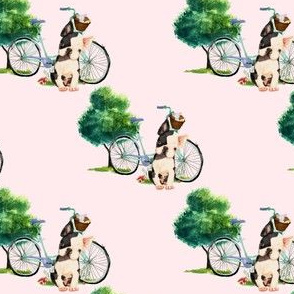 "4"" Dog With Bike - Pink"