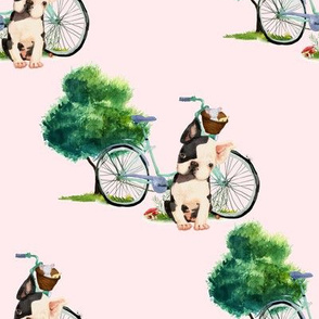 "8"" Dog With Bike - Pink"