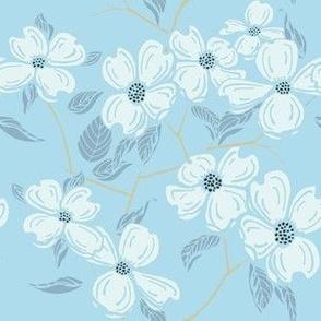 Dogwood Floral, mint on chapel hill sky blue
