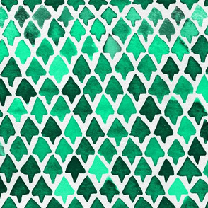 Forest Watercolor Abstract Geometric Trees  // Green Triangles / Camping / Woods / Woodland