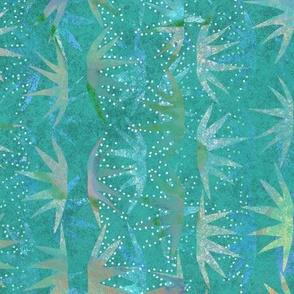 Cactus Stars Batik Teal Multi 150