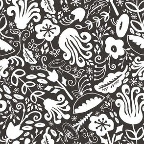 Funky Vintage Floral // Monochrome Black and White // Color Your Own Flower Garden