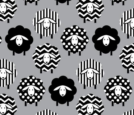 GEOMETRIC SHEEP ON GRAY fabric by wxstudio on Spoonflower - custom fabric