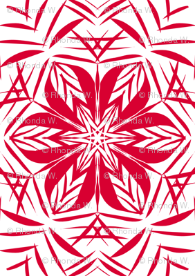 Jazzy Deco Star-Flowers Border Tiles - Medium Scale