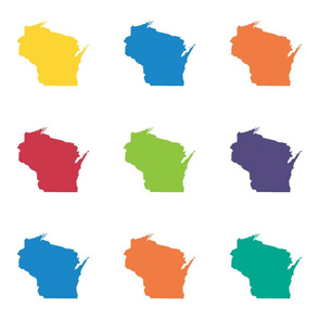 "Wisconsin silhouette - 6"" multicolored"