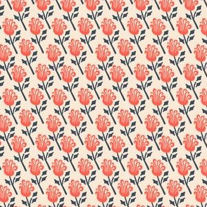 Funky Vintage Floral // Whimsical Waving Flower in Persimmon + Navy Blue