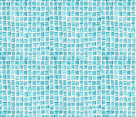 Indigo Watercolor Abstract Geometric Texture // Turquoise Crosshatch Basket Weave Lines fabric by zirkus_design on Spoonflower - custom fabric