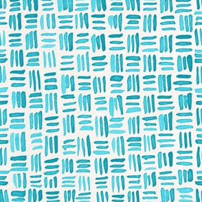 Indigo Watercolor Abstract Geometric Texture // Turquoise Crosshatch Basket Weave Lines