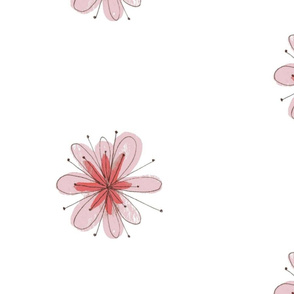 Single Pink Floral White Background Large Scale