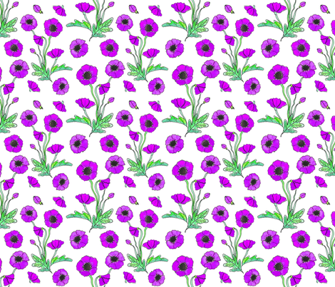 purple poppy repeat 6x6 fabric by leroyj on Spoonflower - custom fabric