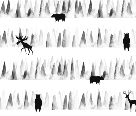 Woodland animals in the forest/ Forest trees woodland animals/ Watercolor woodland animals/ Minimal Black and White fabric  fabric by bianca_pozzi on Spoonflower - custom fabric