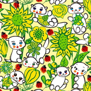 White Otters in a Yellow Garden with Red Ladybugs
