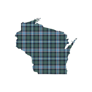 "Wisconsin silhouette - 18"" silhouette with 3"" faded tartan"