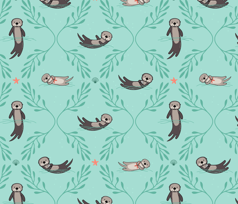 Otter Damask fabric by lellobird on Spoonflower - custom fabric