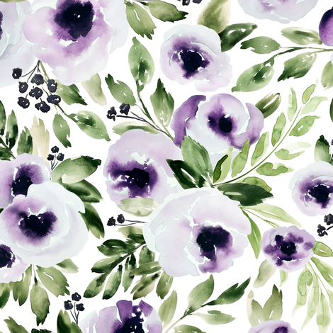 Violets In Bloom fabric by northeighty on Spoonflower - custom fabric
