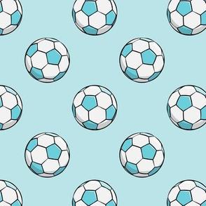 soccer balls (blue on blue)