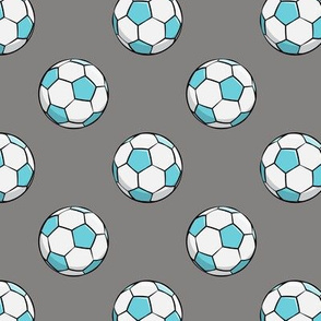 soccer balls (blue on grey)