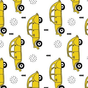 Cool vintage oldtimer cars paris collection geometric scandinavian illustration design for kids mustard yellow rotated