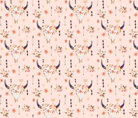 Boho Aztec Bison Skull Flowers (pink parfait) – Longhorn Bull Horns Southwest Baby Girl Nursery A fabric by gingerlous on Spoonflower - custom fabric