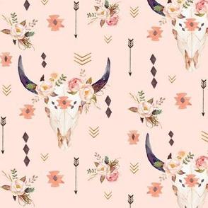 Boho Aztec Bison Skull Flowers (pink parfait) – Longhorn Bull Horns Southwest Baby Girl Nursery A