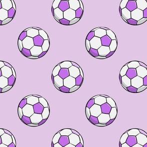 soccer balls - purple on purple