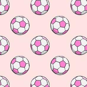 soccer balls - pink on light pink