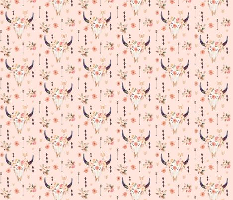Boho Aztec Bison Skull Flowers (pink parfait) – Longhorn Bull Horns Southwest Baby Girl Nursery B fabric by gingerlous on Spoonflower - custom fabric