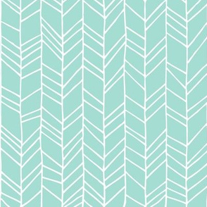Mint Crazy Chevron Herringbone Hand Drawn Geometric Pattern GingerLous