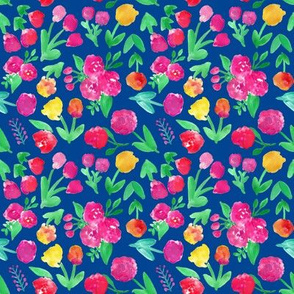 Abstract Floral Fields on Navy Blue