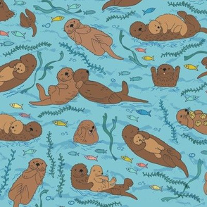 Sea otters - sea blue - Medium scale