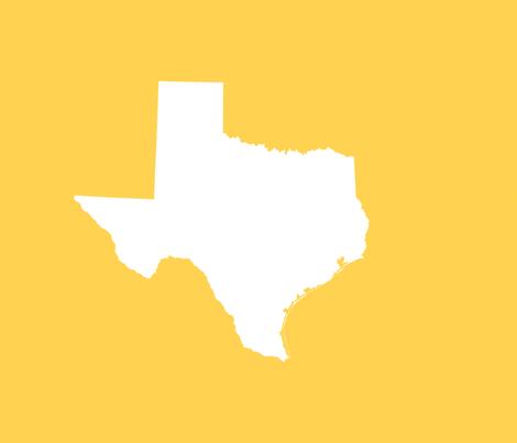 "Texas silhouette - 18"" white on gold fabric by weavingmajor on Spoonflower - custom fabric"