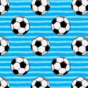 soccer balls - blue stripes