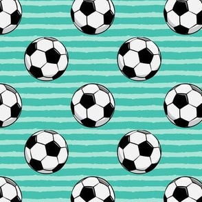 soccer balls - green stripes