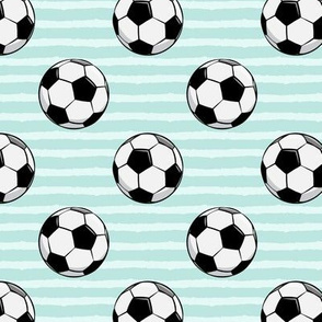 soccer balls - dark mint stripes