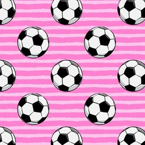 soccer balls - pink stripes