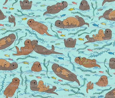 Sea otters on Aqua Sea foam - large scale