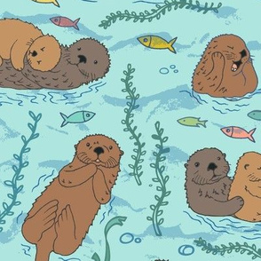 Sea otters on Aqua Sea foam - large scale