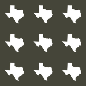 "Texas silhouette - 6"" white on  khaki"