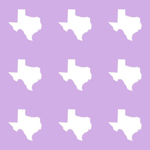 "Texas silhouette - 6"" white on  lilac"