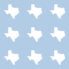 "Texas silhouette - 6"" white on  light blue"